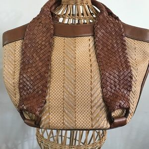 Cole Haan Leather & straw purse